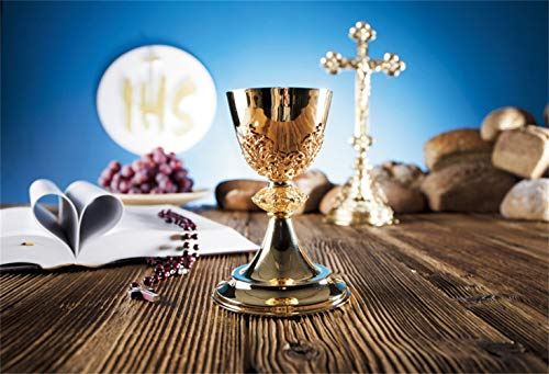 Leowefowa Holy Communion Backdrop 7x5ft Chalice Grapes Wafer Rosary Breads Rustic Wood Table Vinyl Photography Background Communion Party Banner Christian Pastor Bishop Photo Shoot Props