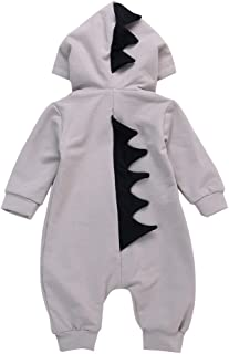 CYNDIE Baby Newborn Soft Cotton Cute Dinosaur Shape Clothes Long Sleeve Hooded Jumpsuit Costumes