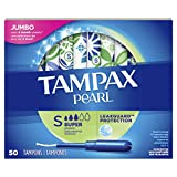 Tampax Pearl Tampons Super Absorbency with LeakGuard Braid, Unscented, 50 Count...