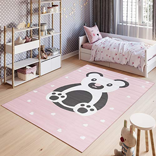 Tapiso Pinky Alfombra de Sala Juvenil Niño Bebé Diseño Moderno Rosa Gris Blanco Oso Juego Suave Delgada 180 x 250 cm