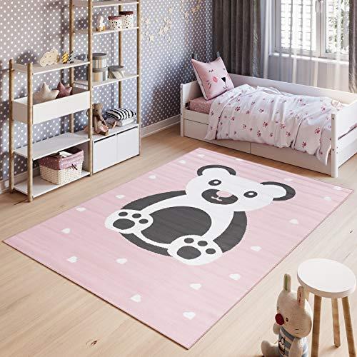 Tapiso Pinky Teppich Kurzflor Rosa Weiß Grau Modern Bär Teddy Herzen Design Kinderzimmer Kinderteppich Spielteppich ÖKOTEX 160 x 220 cm