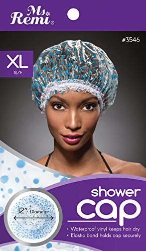 Shower Cap - Blue Dot Pattern, Vinyl material, elastic band, extra large, large, won't fall off...