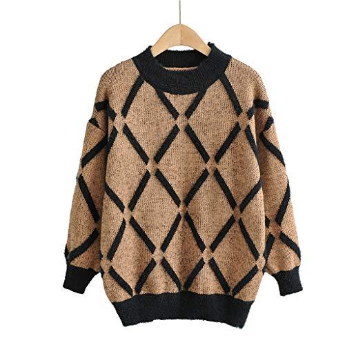 YWSZJ Suéter de Cuello Alto Harajuku Coreano para Mujer, suéter de Punto Retro de Manga Larga con Cuello Redondo, Nuevo Otoño Invierno, Tirador Suelto