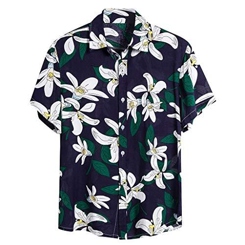 KPILP Herren Hawaii Hemd Kurzarm Freizeithemd Jungle Blätter 3D Gedruckt Button Down Shirts Strand Hemd Party Urlaub Hemd