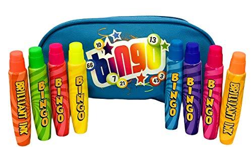 Bingo Dabbers - Juego de 8 rotuladores de bingo con funda de transporte para bingo (azul), 8 x 15 ml