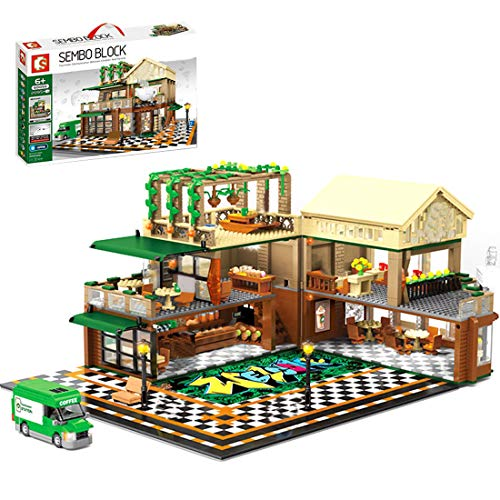 Oeasy Modular Haus Architektur Modell Bausteine, 2059 Klemmbausteine Café Bauset mit Figuren, Häuser Modellbau Kompatibel mit Lego