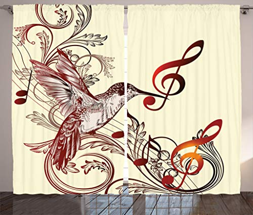 Ambesonne Hummingbirds Curtains, Flying Bird Musical Notes Clef Musical Ornate Design, Living Room Bedroom Window Drapes 2 Panel Set, 108