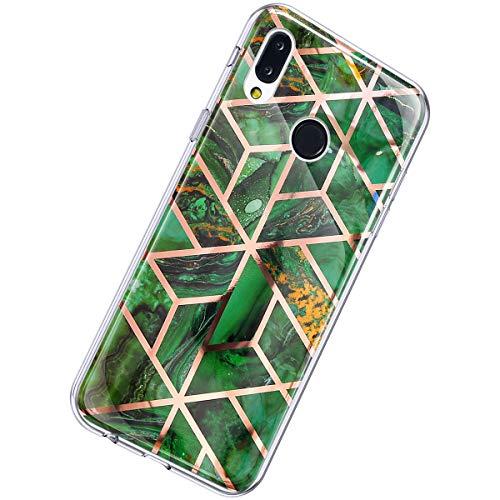 Herbests Kompatibel mit Huawei P20 Lite Hülle Marmor Muster Glänzend Glitzer Bling Weich Silikon Hülle Kratzfest Schutzhülle Tasche Crystal Case Durchsichtig Dünn Handyhülle,Marmor Grün