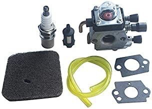 KIPA C1Q-S97 Carburetor Fuel Filter Air Filter Fuel Line Spark Plug for Stihl S38 FS45 FS46 FS55 KM55 HL45 FS45L FS45C FS46C FS55C FS55R FS55RC KM55 String Trimmer Weed Eater Replace # 41401200612
