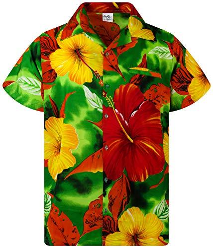 Funky Camisa Hawaiana, Manga Corta, Big Flower, Verde, S