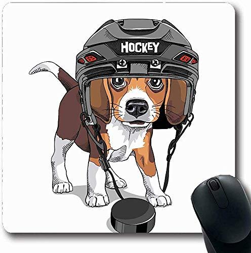 Mauspads für Computer Haustier Braun Hund Welpe Beagle Eishockey Helm Niedlich Wildlife Sport Erholung Lustig Entzückend Schwarz Längliche Form Rutschfeste Längliche Gaming Mauspad 30X25CM