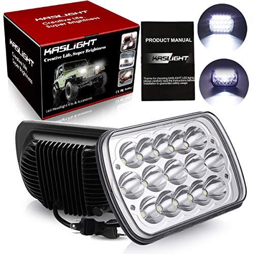 H6054 Led Headlights, KASLIGHT Pair 5x7 Headlights 7x6 Headlamp Hi/Low Sealed Beam H4 9003 Plug 6054 H5054 for Jeep Wrangler YJ XJ S10 Chevy Blazer Express Van/Cherokee Truck Ford E250 Van
