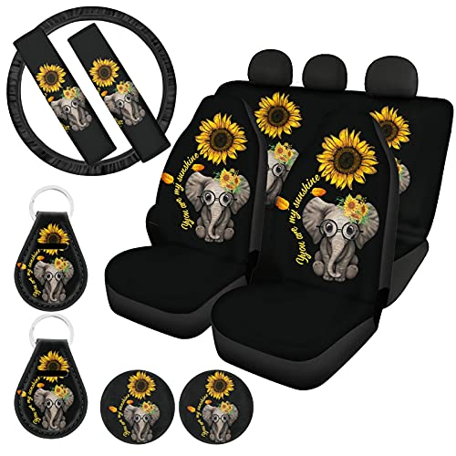 HUIACONG Elephant Print Car Seat Covers Sunflower Car Accessories,Front Back Saddle Blanket Seat Protectors Covers,Steering Wheel Cover,Seat Belt Cushion,Coasters,Keychains Universal Fit
