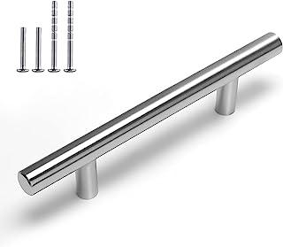 Brushed Nickel Cabinet Hardware Furniture Handles 5 Pack-Homdiy HD201SN 3-3/4 in Hole Centers T Bar Cupboard Drawer Pulls ...