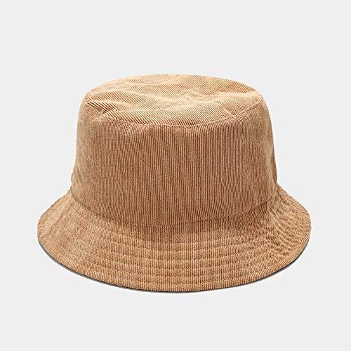 WAZHX Otoño Invierno Sombrero De Cubo Sombrero De Pescador Sólido Sombrero De Pana para El Sol Gorra DeCaderaReversibleSombrero De Caza Plegable Gorra De Pesca Caqui