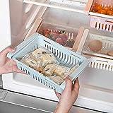99AMZ Boite Rangement Frigo Réfrigérateur Escamotable avec Tiroir Organisateur Boîte de Rangement Multifonction pour Réfrigérateur Garder Le Réfrigérateur pour Tiroir, Étagère, Cuisine (Bleu)