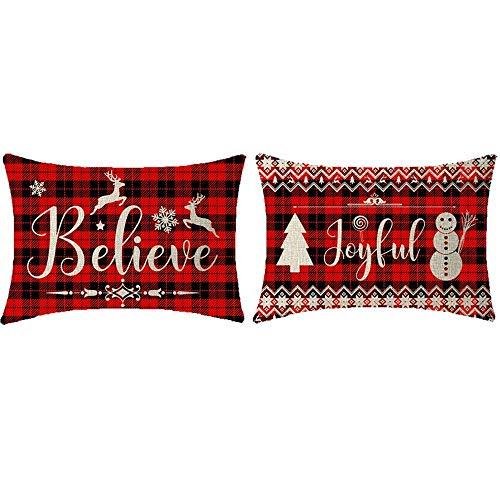 Mesllings Juego de 2 fundas de cojín rectangulares decorativas con diseño de renos y muñeco de nieve y pino bohemio negro y rojo búfalo, cuadros, arpillera lumbar y arpillera, para sofá, 30,5 x 50,8 cm