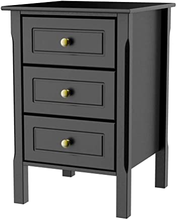 5379483d927b Yaheetech Black Bedside Table with 3 Drawers - Wooden Side Table Nightstand  Console Table Chest of
