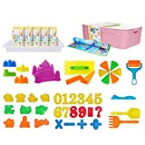 Kinder Sandkasten Set, 2,5 Kg Magisches Sandspielzeug Mit Yogamatte, Spielzeug Aufbewahrungsbox,...