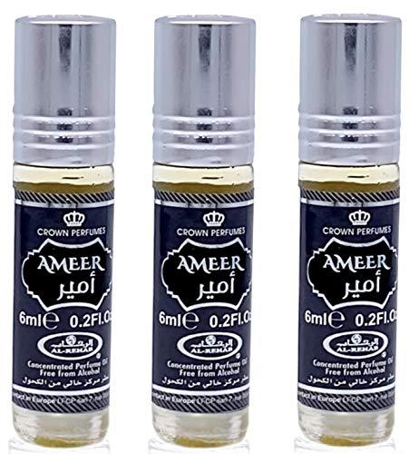 Set de 3 Almizcle Musk AMEER Al Rehab 6ML Perfumes de Mujer Perfumes Hombre Attar Perfume Sin Alcohol 100% de Aceite Almizcle Oud Roll on, NOTAS: Oud, Sándalo, Vainilla y Almizcle