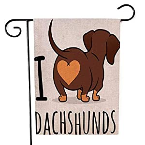 EMMTEEY Dachshund Art Garden Flag Double Sided Burlap Decoration 12.5x18 for Yard Outdoor Decor Garden Flag Cute Dachshund Dog Cartoon Isolated on White Love Chocolate and Tan Wiener Sausage Rear