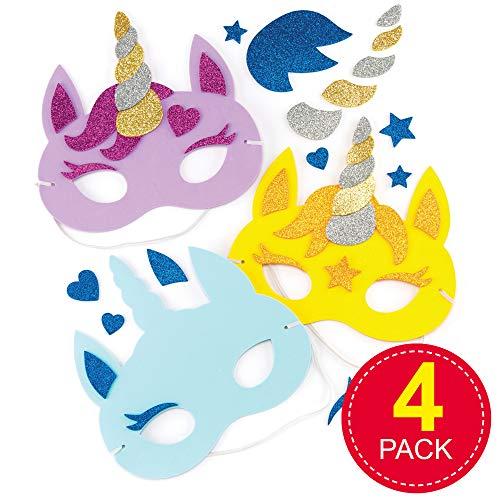 Baker Ross- Kits caretas Unicornio Pack 4 Que niños