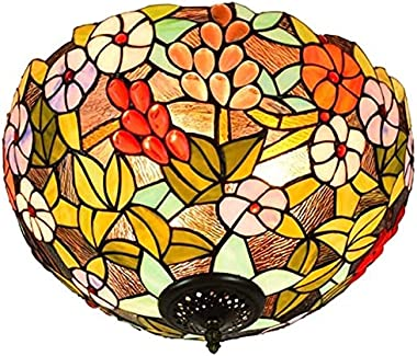 TANKKWEQ Tiffany Hanging Lamp, American Grape Stained Glass Decoration for Living Room, Hallway, Dining Room, Bedroom, E27