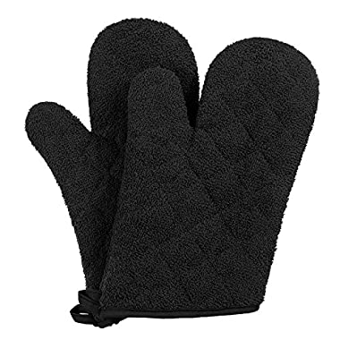 VEEYOO 100% Cotton Oven Mitts Kitchen Oven Gloves Heat Resistant Terry Oven Mitts 7x12, Black