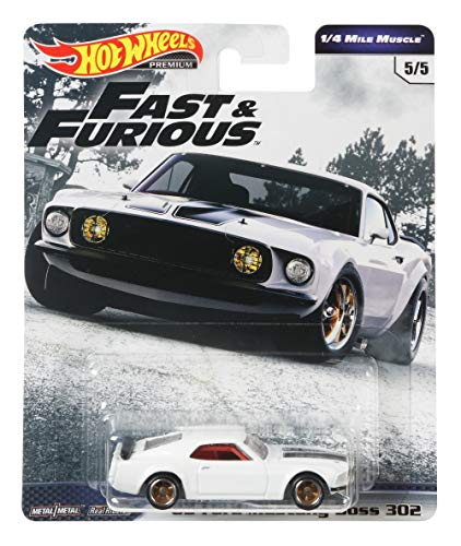 Hot Wheels '69 Ford Mustang Boss 302 Fast & Furious 1/4 Mile Muscle 5/5 1:64 GBW89 GBW75