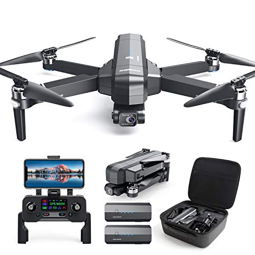 DEERC DE22 GPS Drone with 4K Camera 2-axis Gimbal, EIS Anti-Shake, 5G FPV Live Video Brushless Motor, Auto Return Home, Selfie, Follow Me, Waypoints, Circle Fly 52Min Flight with Carrycase