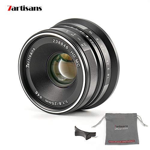 7artans F1.8 APS-C - Lente Fija Manual para cámaras Fuji X-A1 X-A10 X-A2, X-A3 X-AT X-M1 XM2 X-T1 X-T10 X-T2 X-T20 X-Pro1 X-Pro2 X-E1 X-E2 X-E2s-black (25 mm)
