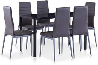 pedkit Conjunto de Mesa y sillas de Comedor 7 Piezas Mesa Salón y Sillas Gris