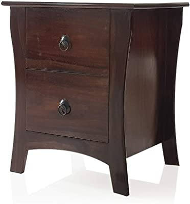 DecorNation Sheesham Engineered Wood End Table Night Stand Side Table with 2 Drawers for Bedroom Living Room - Brown