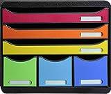 Exacompta 306798D Ablagebox Store-Box Maxi Iderama, mit 6 Schubladen, robust und praktisch, Schwarz/Harlekin, 1 Stück