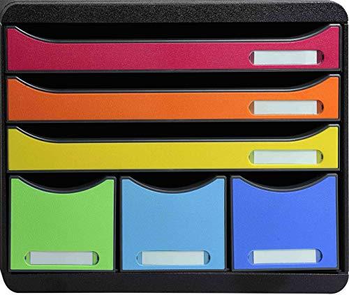 Exacompta 306798D Premium Ablagebox Querformat mit 6 Schubladen für DIN A+ Dokumente. Belastbare Schubladenbox mit hoher Kapazität für mehr Platz Store Box Blauer Engel Harlekin Schwarz/bunt