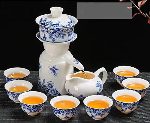 Mopoq Un Conjunto Completo de Porcelana de Porcelana Azul y Blanca, Conjunto de té semiautomáticas de Mariposa, Flores de Amor, Interruptor táctil Perezoso para filtrar automáticamente, el té no está