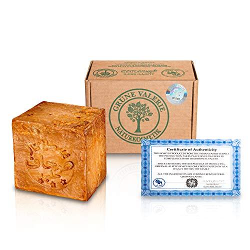 Grüne Valerie® Jabón original de Alepo 200g+ 20% / 80% aceite de laurel/aceite de oliva - jabón para el cabello/jabón de ducha Valor PH 8 Detox, hecho a mano - más de 6 años de maduración