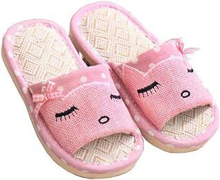 Women's Linen Slippers, Summer Indoor Floor Slippers, Outdoor Garden Slippers Linen Sweat-Absorbent Breathable Deodorant Open-Toe Slippers