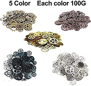 GuiHe 500Gram Assorted Vintage 5 Mixed Color Metal Steampunk Gears Charms Pendant Clock Watch Wheel Gear for Crafting, Jewelry Making Accessory(5 Color Mixed)