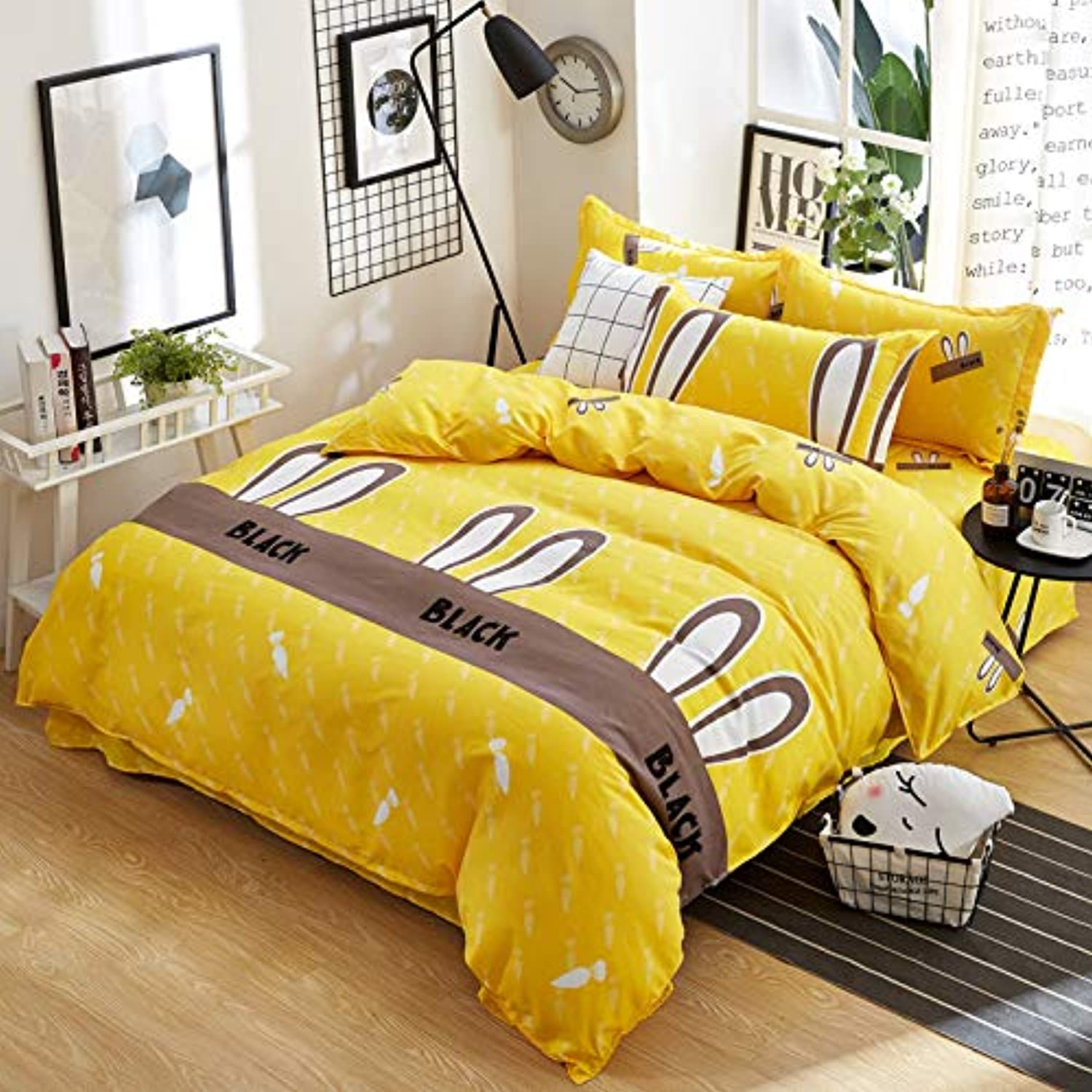 JX Lecal Premium 4 Piece Set, Rabbit Ears Carred White Print Double Sided Duvet Cover, Yellow Deep Pocket Sheets, Size  Twin