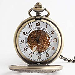 "Avaner Steampunk Retro Half Hunter Copper Gear Skeleton Hand Wind Mechanical Roman/Arabic Numeral Analog Display Pocket Watch with 14""Chain (Brown) #3"
