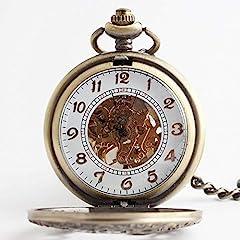"Avaner Steampunk Retro Half Hunter Copper Gear Skeleton Hand Wind Mechanical Roman/Arabic Numeral Analog Display Pocket Watch with 14""Chain (Brown) #3"