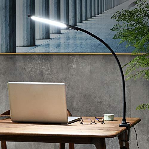 Lámpara de Escritorio LED, Lámpara de Lectura con Protección Ocular, Cuello de Cisne Flexible Giratorio de Brazo Largo de 360 °, 3 Modos de Color y Regulable, Control Táctil con Un Botón, 9W