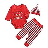 Geagodelia Baby Weihnachtsoutfit Mädchen Jungen Weihnachten Kleidung Langarm Body Weihnachtsstrampler + Hose + Mütze Babykleidung Set Neugeborenen 0-6 Monate 3tlg Outfits (Hirsch, 6-12 Monate)