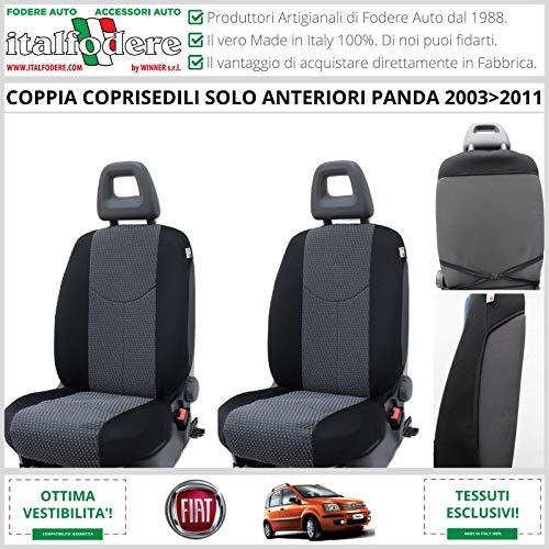 Par de fundas delanteras para asientos de Fiat Panda (169 – II Serie) desde 2003 a 2011. Fundas para respaldos, fundas para asientos de coche, varios colores (antracita 18)