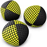 speevers Xballs Juggling Balls Professional Set of 3 120g - 10 Beautiful Colors Available - 2 Layers of Net Carry Case - Choice of The World Champions (Black - Yellow)