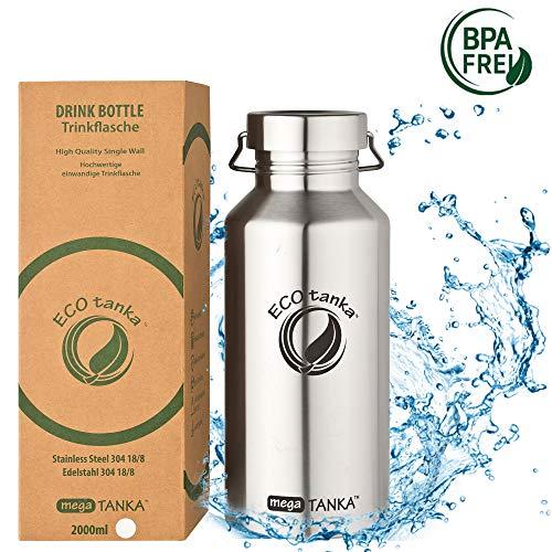 ECOtanka megaTANKA Trinkflasche aus Edelstahl 2 Liter auslaufsicher - Wasserflasche BPA frei (Wave Verschluss)