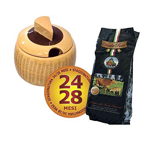 I Sapori delle Vacche Rosse - Vacche Rosse Käse 24 Monate 1 Kg + Käsebehälter aus Keramik