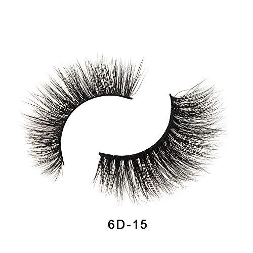 Extension de maquillage de cils de vison de couronne 3D d'apparence naturelle de faux cils (6D-15)