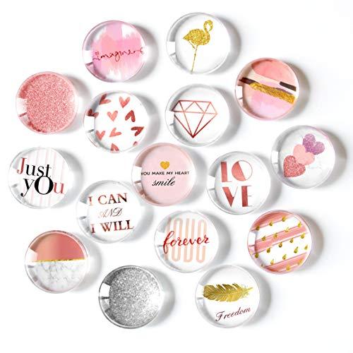 Cosylove Kühlschrankmagnete mit süßer Katze, Kristall-Glas, für Büro-Schränke, Whiteboards, Fotos, schöne dekorative Magnete für Zuhause (Rose Gold)